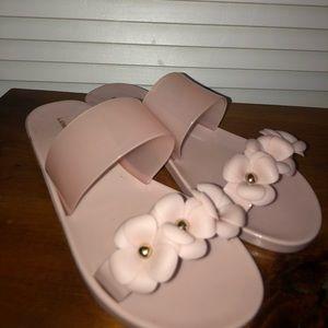 Shoes - Pink Floral Open Toe Slides